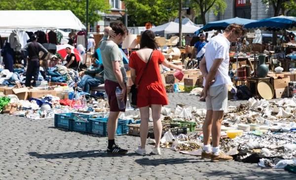 Fotos de Bruselas, mercado de las Pulgas en Les Marolles