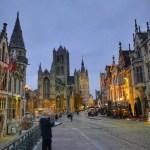 Fotos de Gante en Bélgica, puente de San Miguel de noche