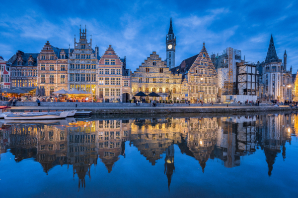 Fotos de Gante en Flandes, Graslei de noche