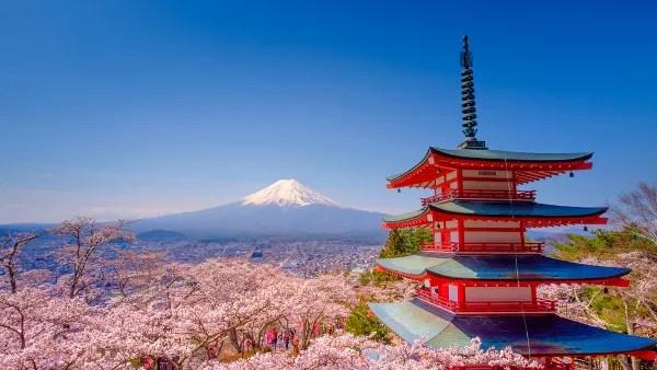 Fotos de Japon, Monte Fuji, pagoda y sakura