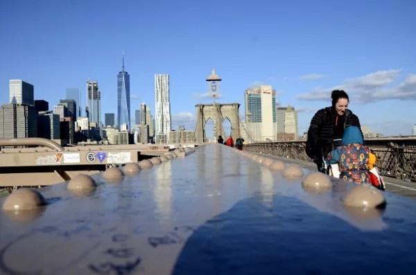 Fotos de Nueva York, Vero, Teo y Oriol en el puente de Brooklyn