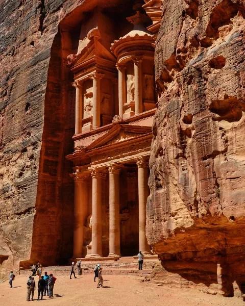 Fotos de Petra en Jordania, fachada de el Tesoro