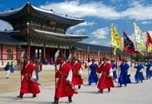 Fotos de Seúl en Corea, guardias en Palacio Gyeongbokgung