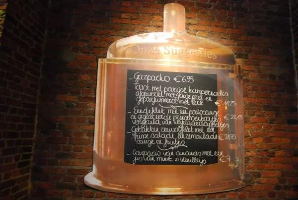 Menú de la cervecería 't Pakhuis de Amberes