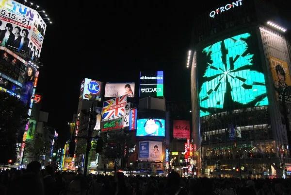 Neones en el cruce de Shibuya