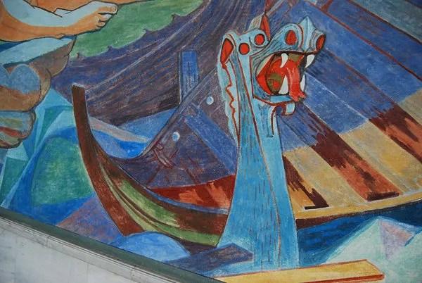 Pintura de un drakkar en el Ayuntamiento de Oslo