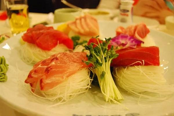 Sashimi de un restaurante de Seúl