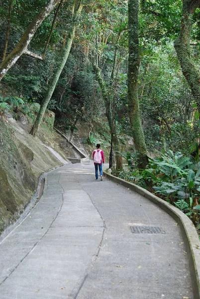 Vero caminando por el Old Peak Road