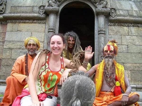 Vero con falsos sadhus en Kathmandu