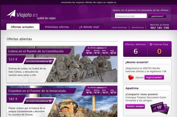 Viajalo.es, un outlet de viajes