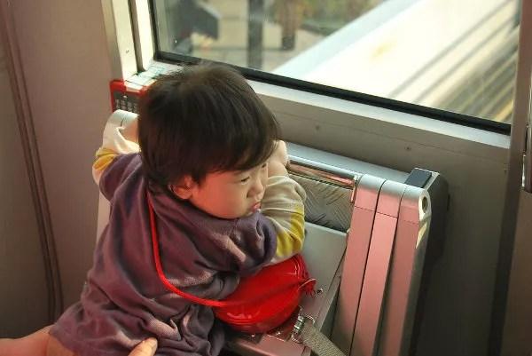 Viendo el paisaje en la Yurikamome line