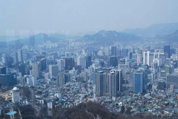 Vistas panorámicas de Seúl desde la N Seoul Tower
