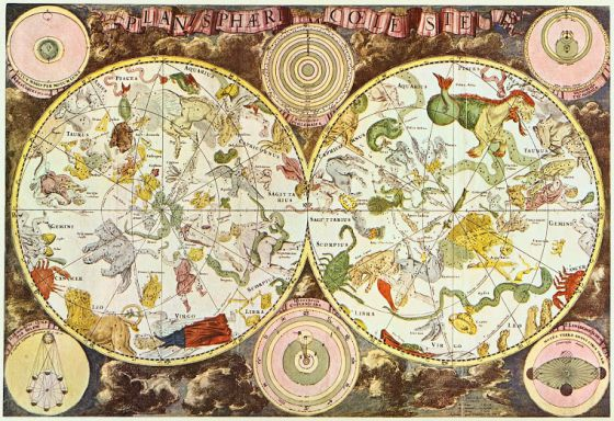 Mapa 'Firmamentum Sobiescianum sive Uranographia' (1690), del astrónomo Johannes Hevelius