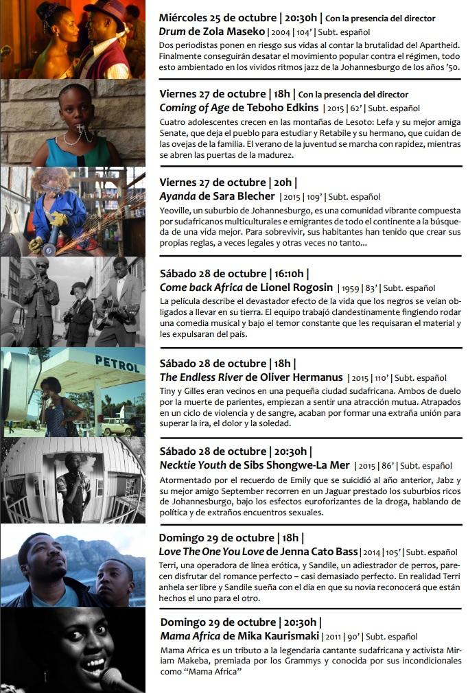Programa - muestra de cine sudafricano - El Palomitrón