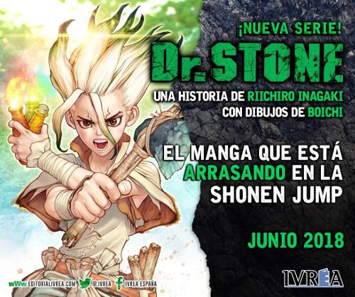 Dr. Stone licenciado por Editorial Ivrea en España cartel editorial - el palomitron