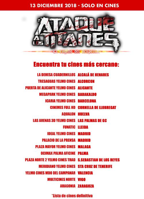 Ataque a los Titanes El rugido del despertar en España listado de cines - El Palomitrón
