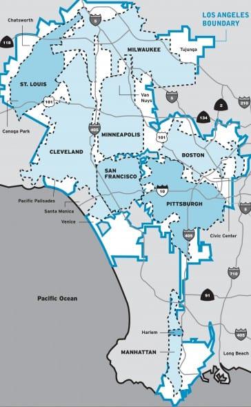 Mapa del condado de Los Angeles.