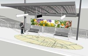 Un mapa de mosaicos y panel de arte de mosaicos de porcelana será construido exhibido a lo largo de los asientos de la estación.