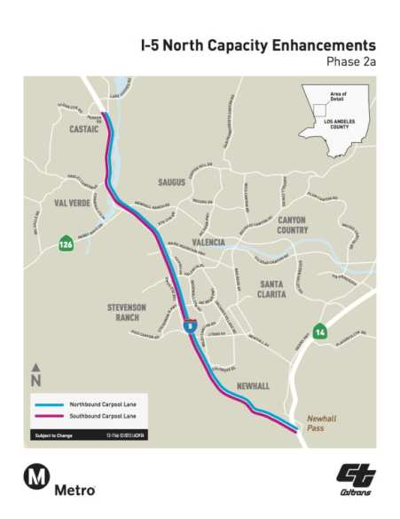 Mapa carriles de viajes compartidos Sta Clarita