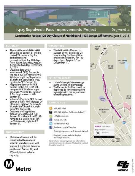 Página informativa sobre el cierre de 129 días de la rampa de salida al Sunset  Boulevard, desde los carriles al norte de la autopista I-405