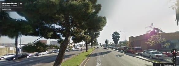 Vista de Crenshaw Boulevard, entre las calles 51 y 52. Foto: Google Maps.