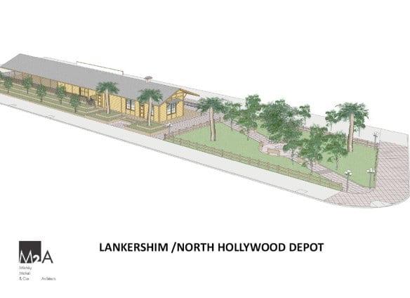 Ilustración de cómo lucirá el depósito cuando el parque de la esquina se restaure.