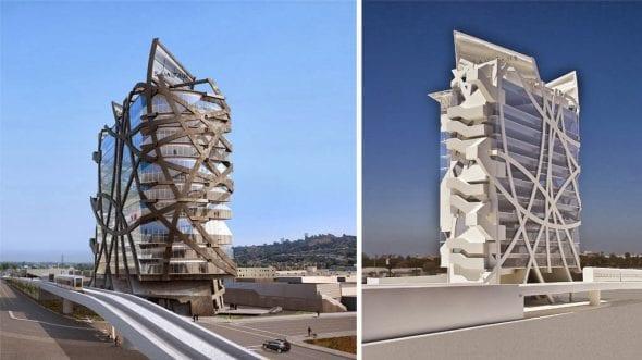 A la torre se le conoce en inglés como The (W)rapper Tower. Foto: Urbanize LA.
