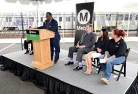 LOS ANGELES, CA - APRIL 3: Crenshaw/LAX Transit Project Southwestern Yard ribbon cutting ceremony on April 3, 2019 at Southwestern Yard in Los Angeles, California.