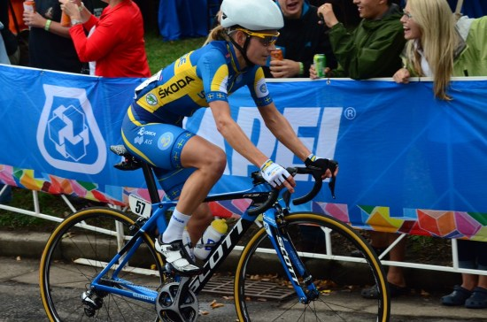 Emma wearing the Swedish yellow and blue with unparalelled elegance. Pic SCF