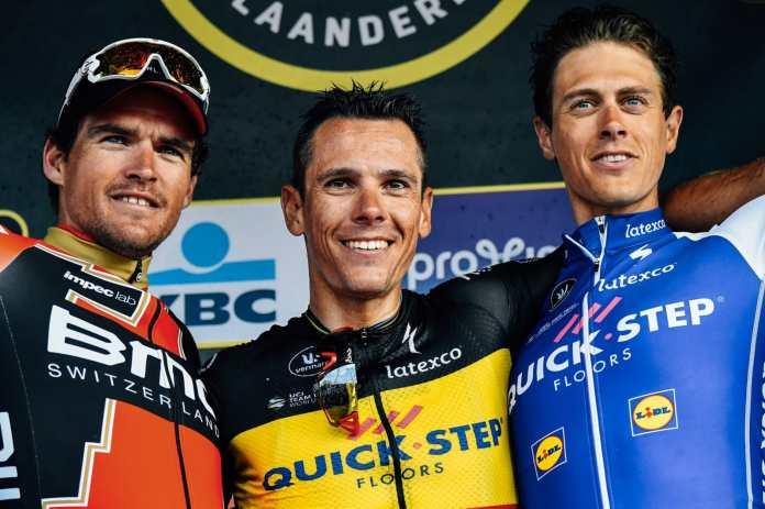 El podio final, con Gilbert, Van Avermaet y Terpstra. © Bettini Photo