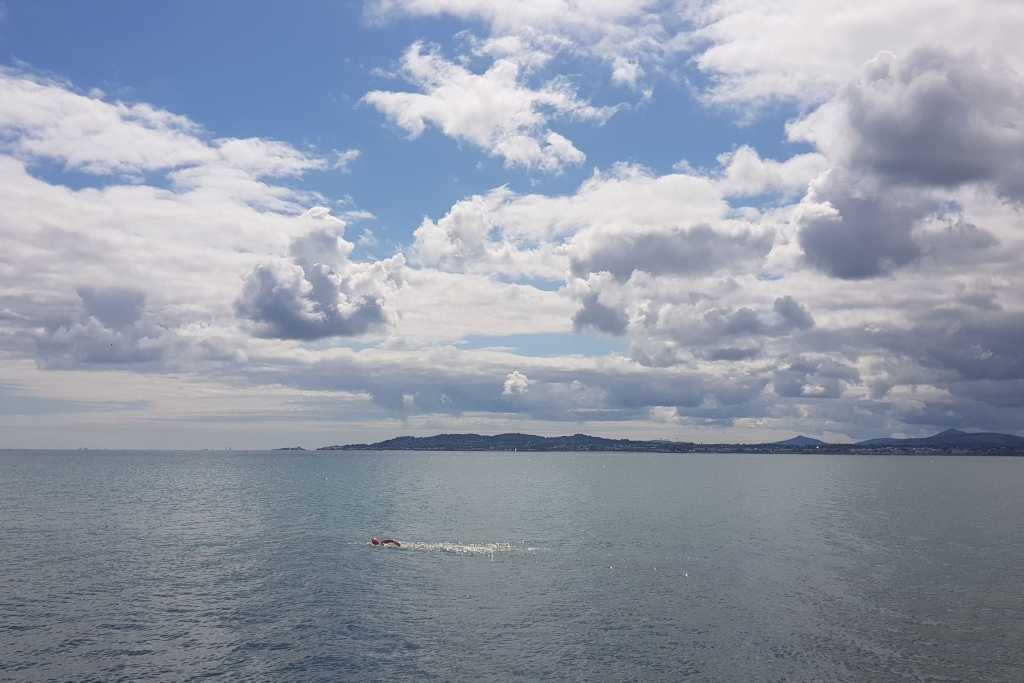 View toward Wicklow from the Great South Wall, complete with swimmer and (somewhere) a seal.