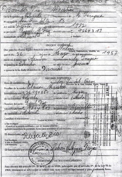 Registro civil de Diomedes Díaz