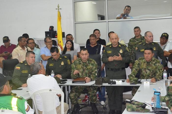La Fuerza Pública reunida para evaluar  seguridad del departamento.