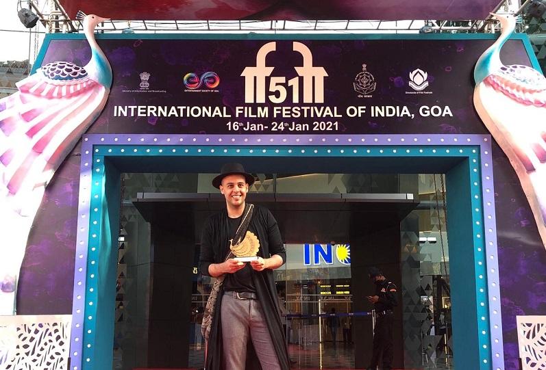David David en el Festival Internacional de Cine de la India.    FOTO/CORTESÍA.