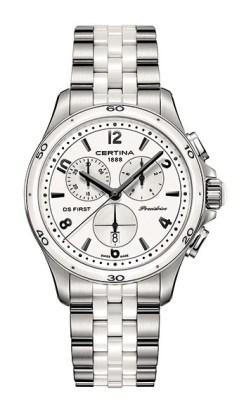 Reloj femenino de diseño deportivo con brazalete de acero combinado con cerámica blanca, Certina DS First Lady.