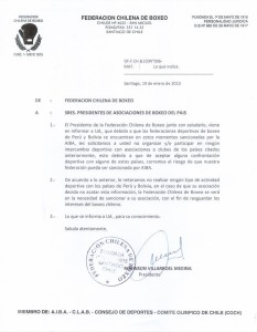 Carta Chile Boxeo