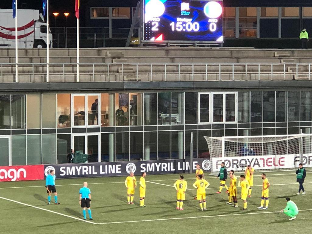 Moment del partit entre Illes Feroe i Andorra. Foto: FAF