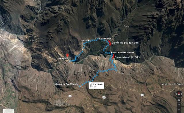 1ra parte del trekking por el Cañón del Colca. Desde el mirador San Miguel al Oasis de Sangalle