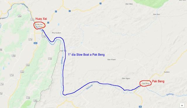 Ruta del 1° día en slow boat