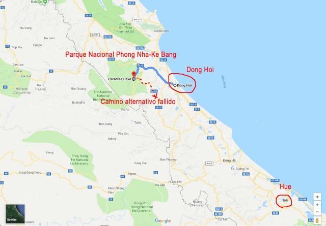 Mapa de como llegar a Paradise Cave