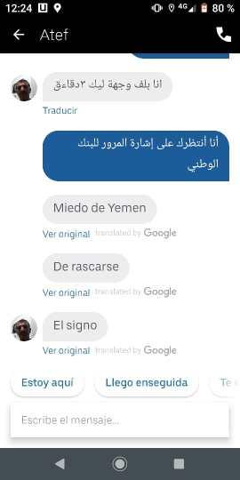 Conversación incoherente con un chofer de El Cairo en la app de Uber