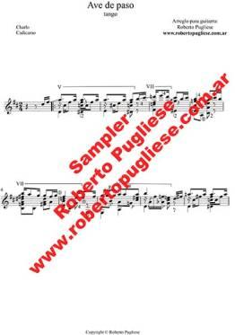 Ave De Paso ejemplo de la partitura para guitarra