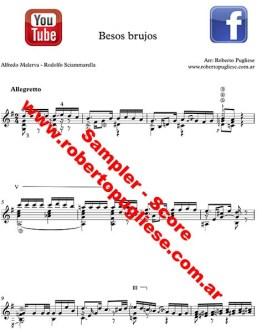 Besos Brujos ejemplo de partitrua para guitarra arreglad de Roberto Pugliese