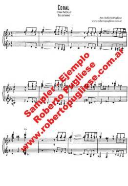 Coral Piazzolla - ejemplo de la partitura arreglada a dos guitarra por Roberto Pugliese