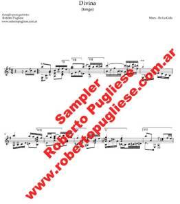Divina, tango de Joaquin Mora y Juan de la Calle, arreglado para guitarra arreglado por el maestro Roberto Pugliese - ejemplo
