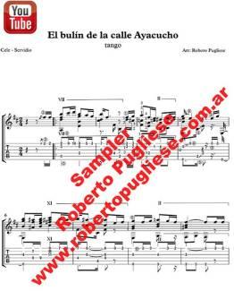 Ejemplo de la partitura en TABs El Bulin De La Calle Ayacucho - tapa de la partitura en guitarra arreglo del maestro argentino Roberto Pugliese