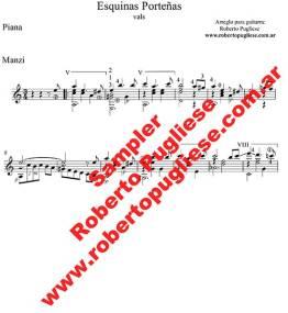 Esquinas porteñas - ejemplo de la partitura del vals de Piana y Manzi, en un arreglo para guitarra solista por el maestro Roberto Pugliese, con su video de referencia
