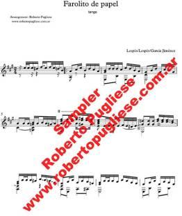 Farolito de papel, ejemplo de partitura para guitarra, arreglad por el maestro Roberto Pugliese
