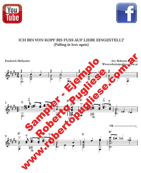 Falling in love again - tapa de la partitura para guitarra por Roberto Pugliese