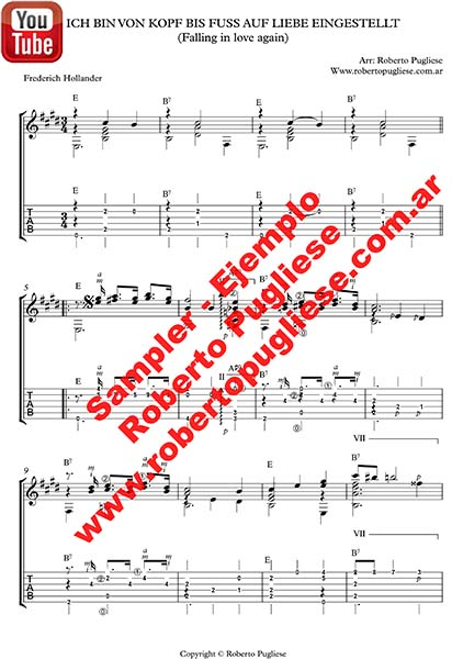 ejemplo tab de Falling in love again - tapa de la partitura para guitarra por Roberto Pugliese